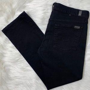 7FAM Straight Leg Black Jeans